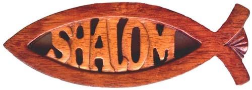 Hűtőmágnes, fa, faragott (Shalom) - A14M