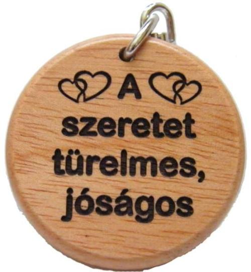 Kulcstartó, fa, kerek (A szeretet) - GK02-865H