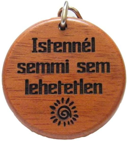 Kulcstartó, fa, kerek (Istennél) - GK02-43H