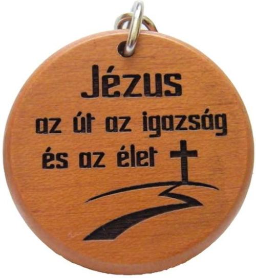 Kulcstartó, fa, kerek (Jézus az út) - GK02-42aH