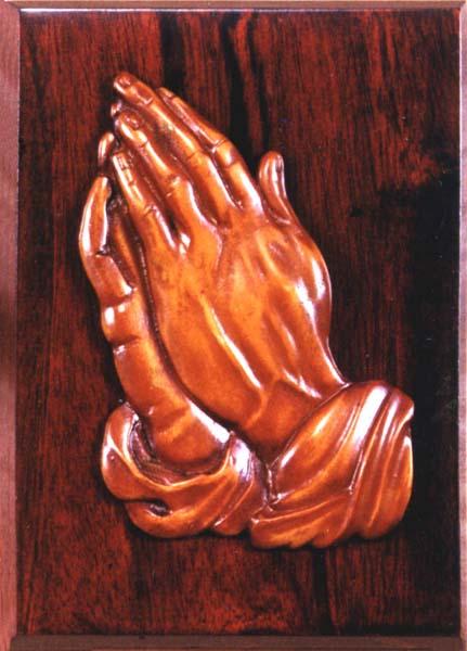 Asztali, fali dísz - imádkozó kéz, fa