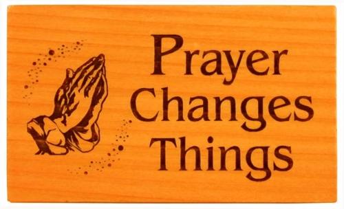 Hűtőmágnes, fa, szögletes, (Prayer) - EP18-04