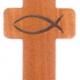 Kulcstartó, fa, kereszt alakú, halas - GK07-99
