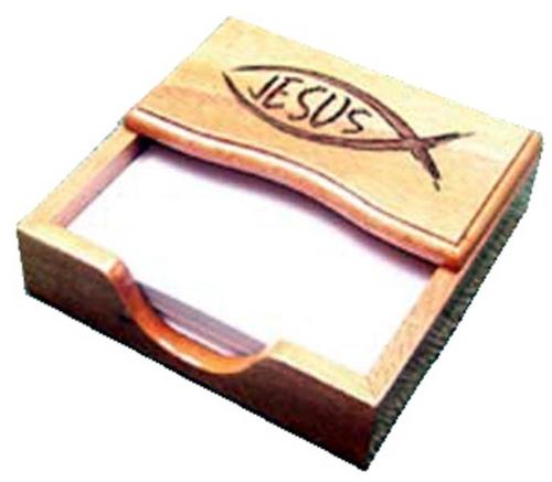 Jegyzetpapírtartó - Fa, hal+Jesus