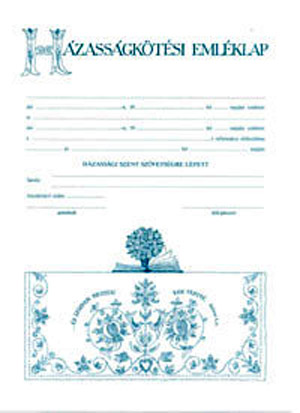Házasságkötési emléklap