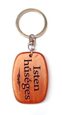 Kulcstartó, fa, ovális (Isten hűséges) - GK03-115H
