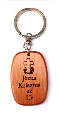 Kulcstartó, fa, ovális (Jézus Krisztus az Úr) - GK03-34H
