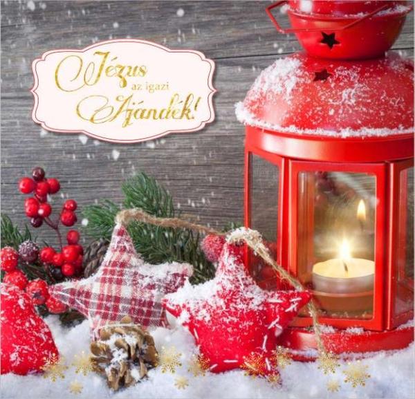 Képeslap, arany, karácsonyi, borítékos